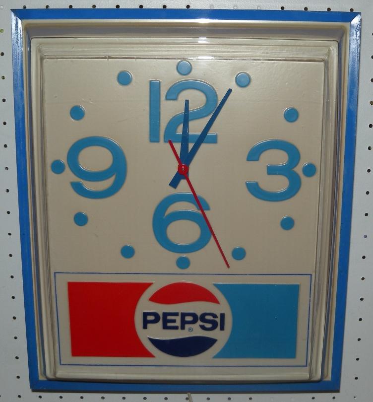 Pepsi Blue Lighted Wall Clock Works Vtg 1980 Pepsi Cola